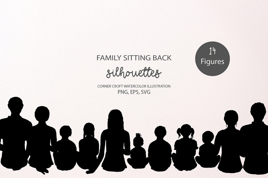 silhouette images of family members sit back