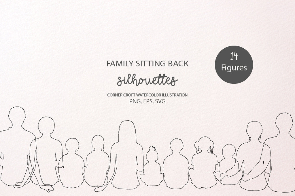 family sitting back vector images instant download