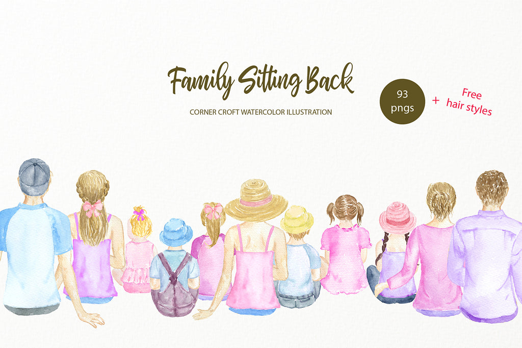 Family portrait, family sitting back, mum, dad, son, daughter, baby clipart