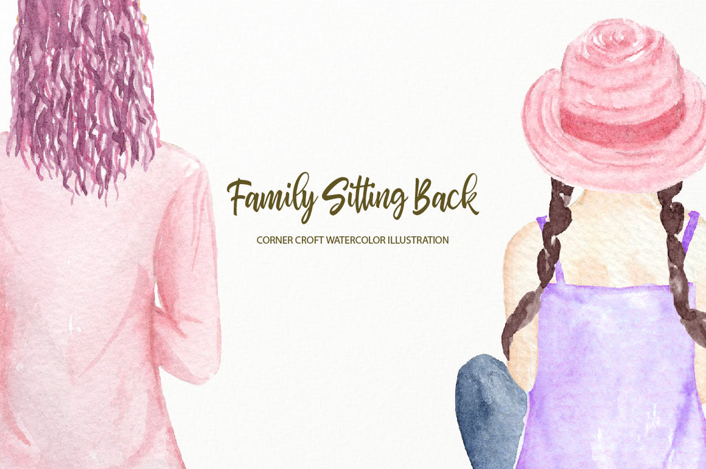 watercolor illustration family sitting back, digital download