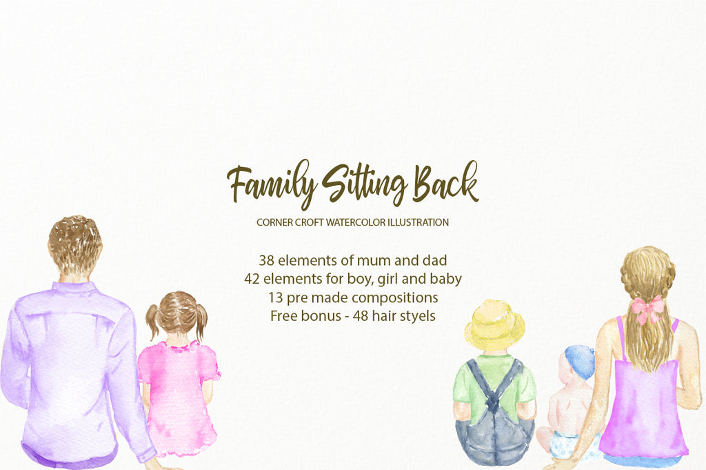 watercolour family sitting back, mum, dad, boy and girl, baby boy and baby girl personalised prints