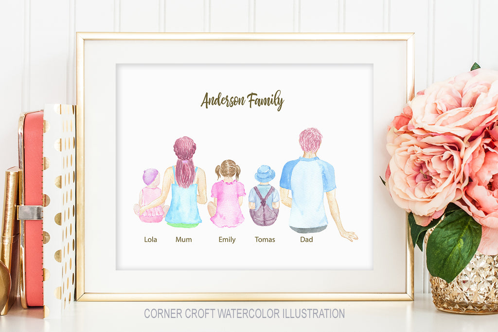 Watercolor clipart family sitting back personalised print