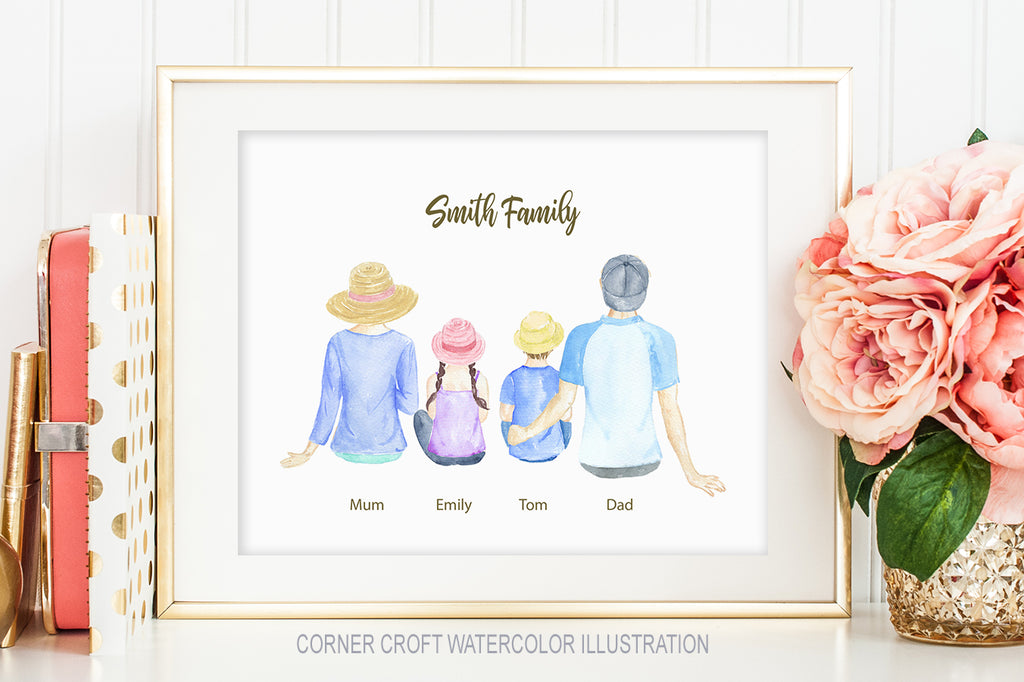 Family sitting back illustration for making personalised print