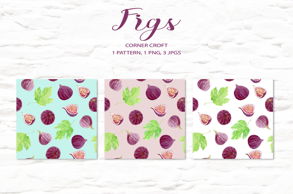 watercolor fig pattern, fig seamless pattern, digital download