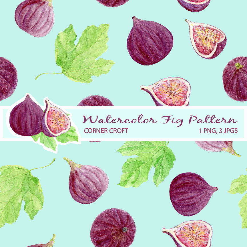 Watercolor fig pattern for digital download