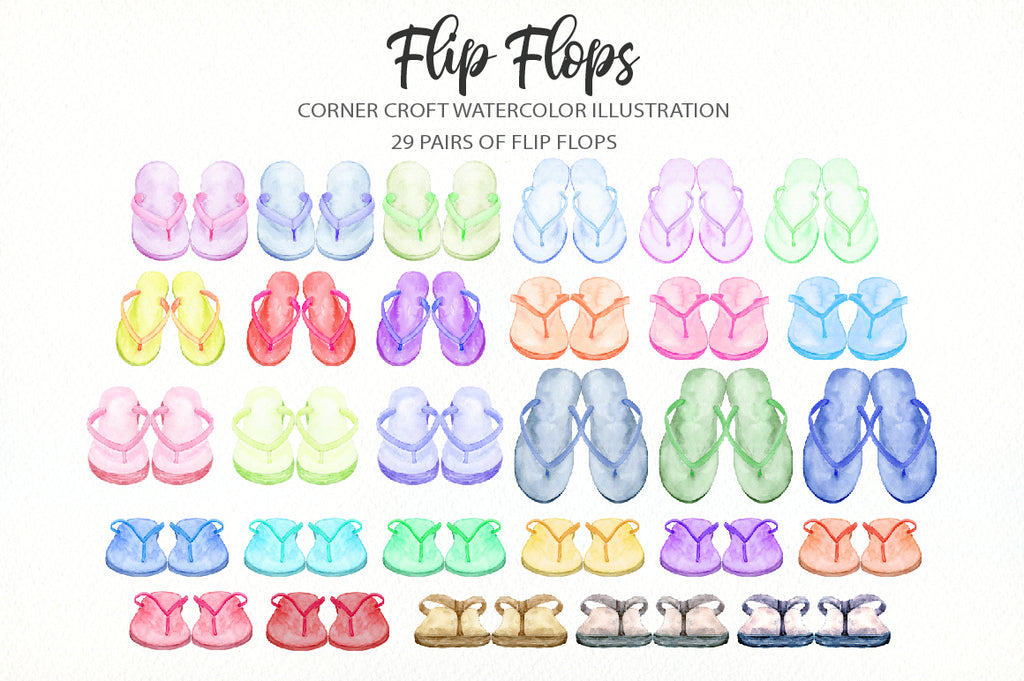 watercolor flip flops illustration in pastel colours pink, blue, purple, yellow and green.