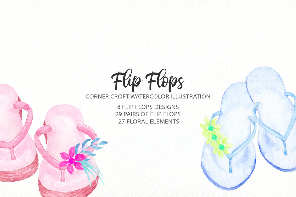 watercolor flip flops clipart for making personalised prints
