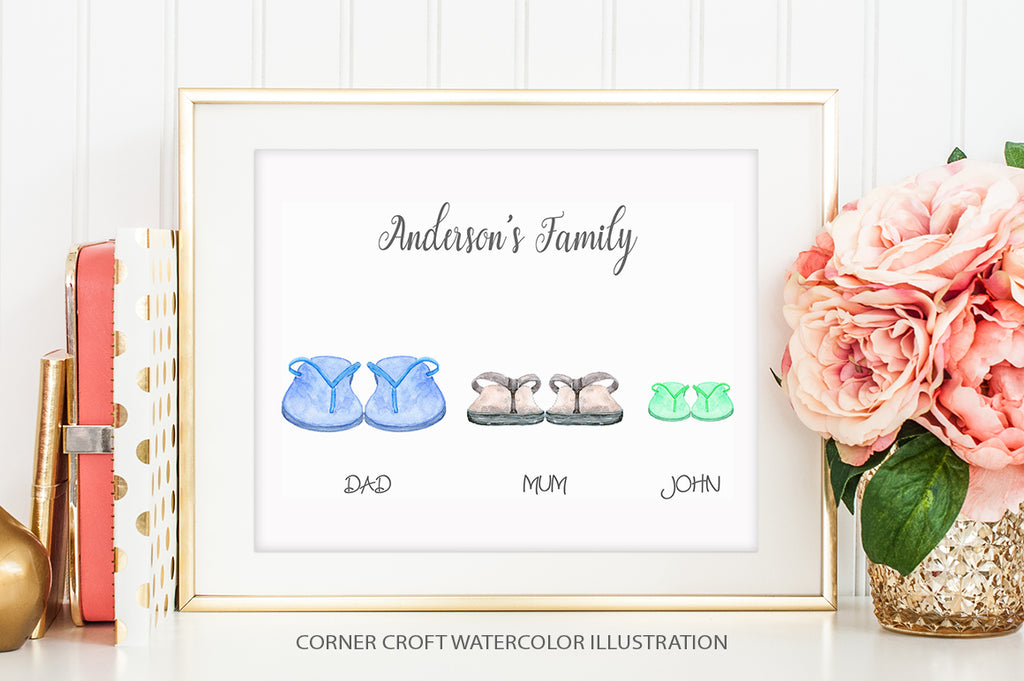 watercolor flip flops collection for making personalised prints
