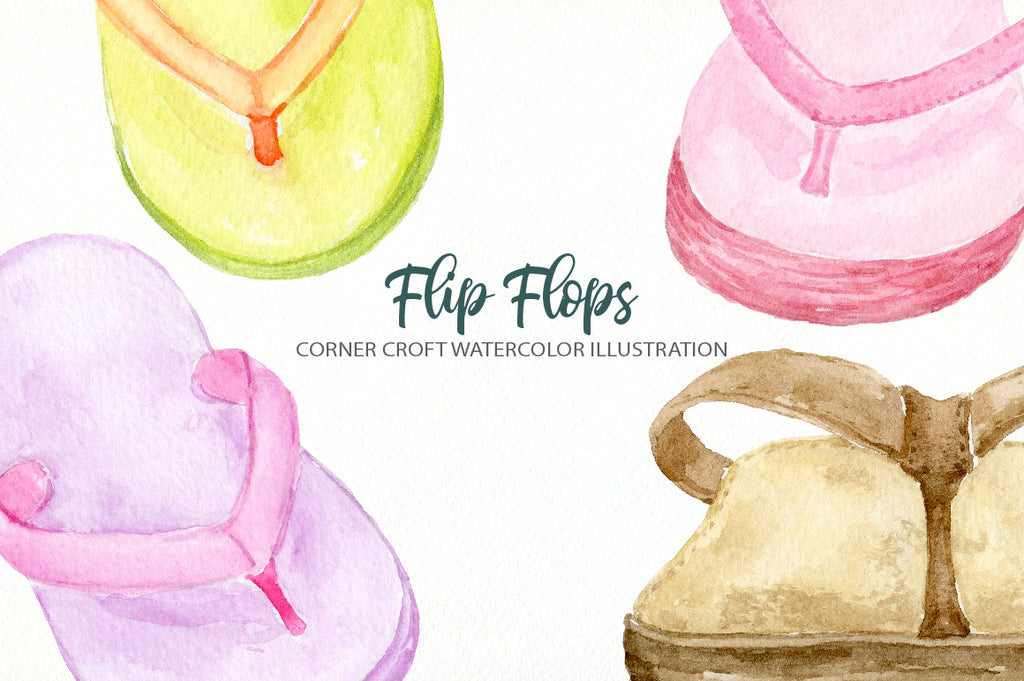 detailed watercolor drawing of beach sandals, flip flops, leather flip flops