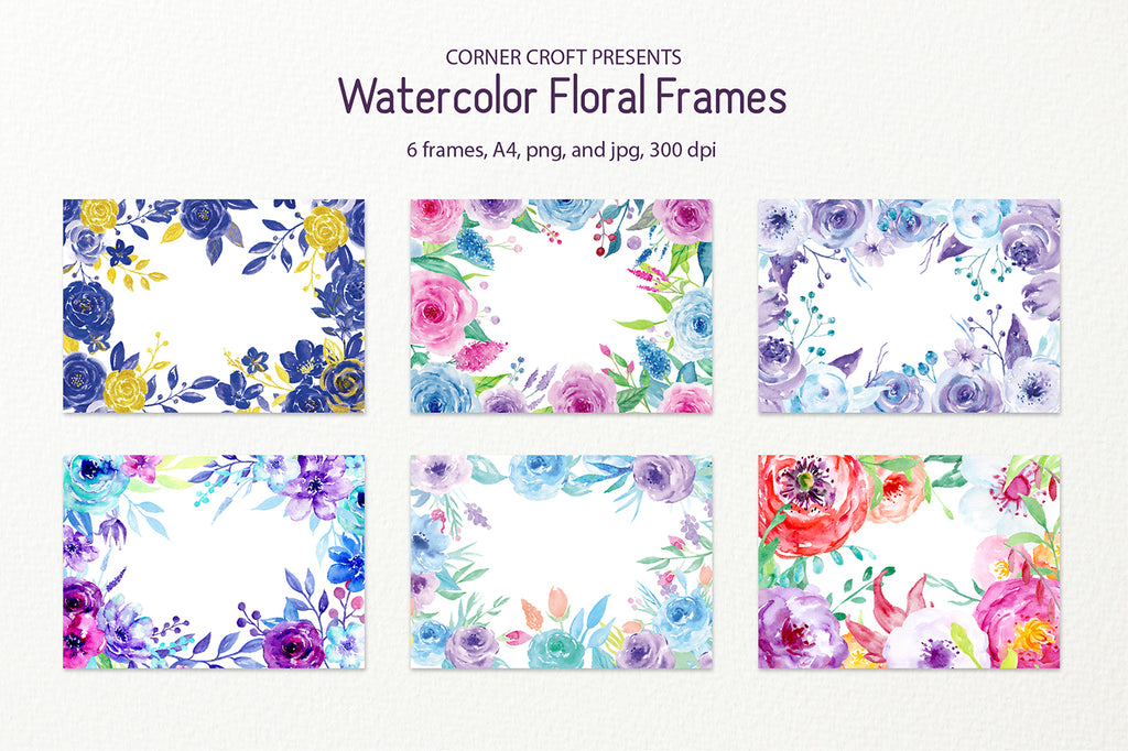 watercolor floral frames, a4, for instant download