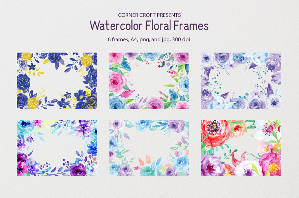 watercolour flower frame, watercolor composition, watercolor flowers for personalised prints