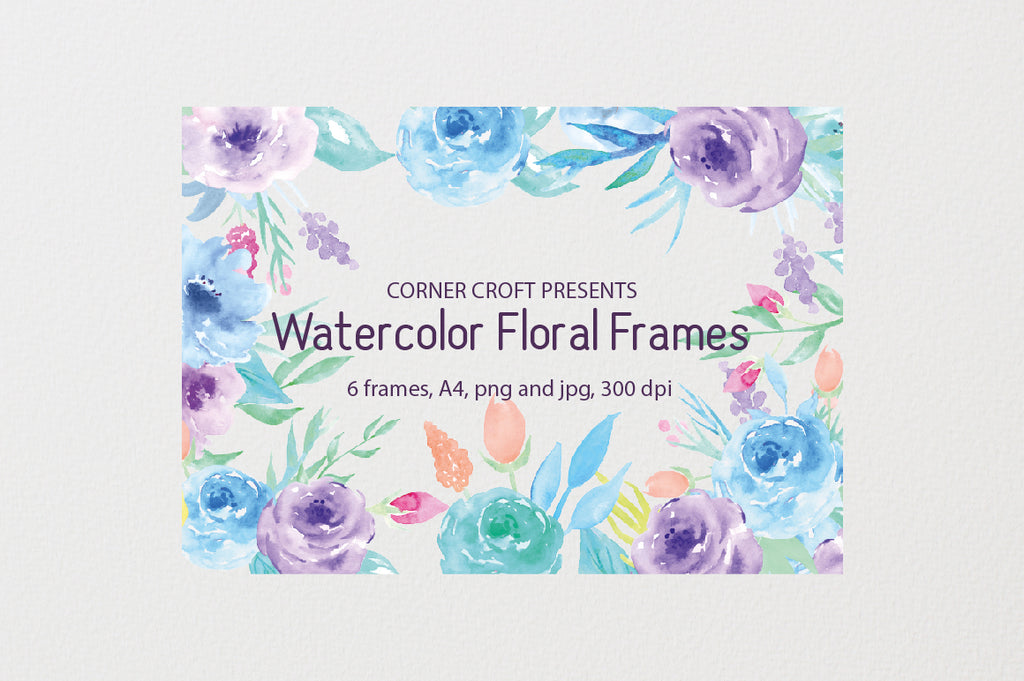 watercolor purple floral frame for digital prints