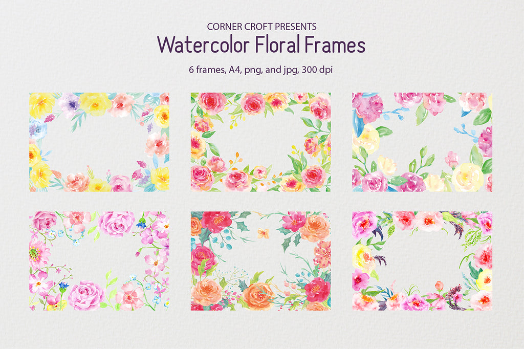 watercolor pink and yellow floral frames for making personalised prints