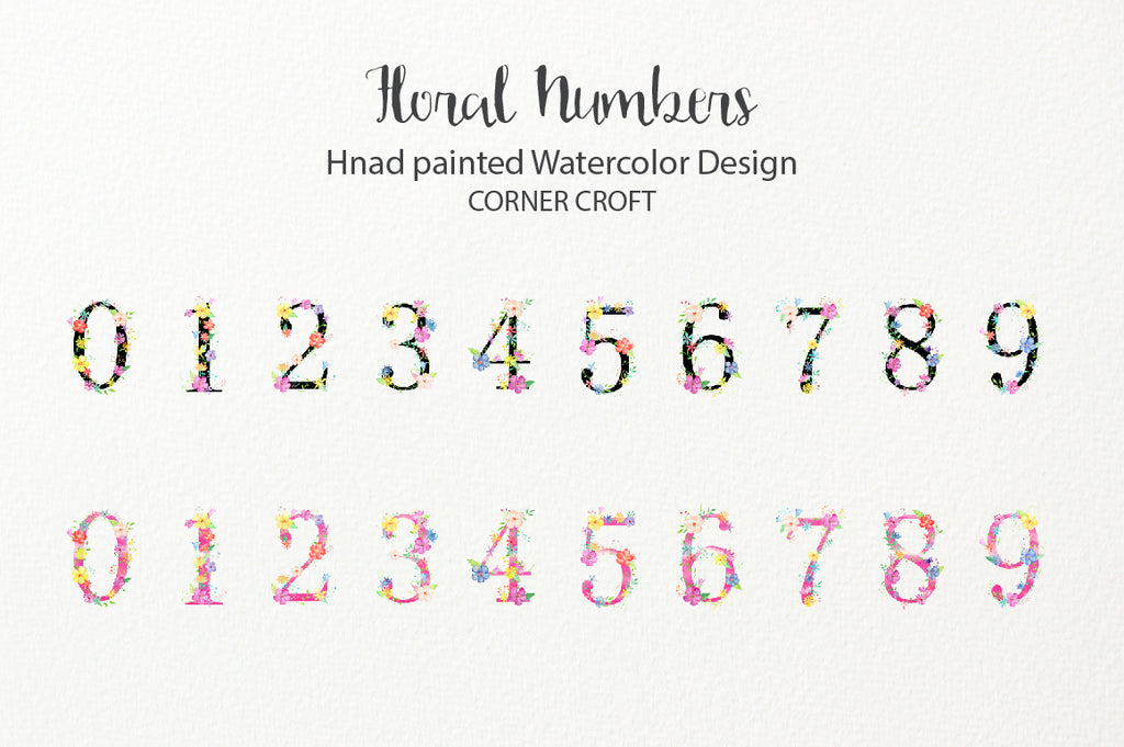 watercolor floral letters, 0 to 9, pastel color flowers, instant download