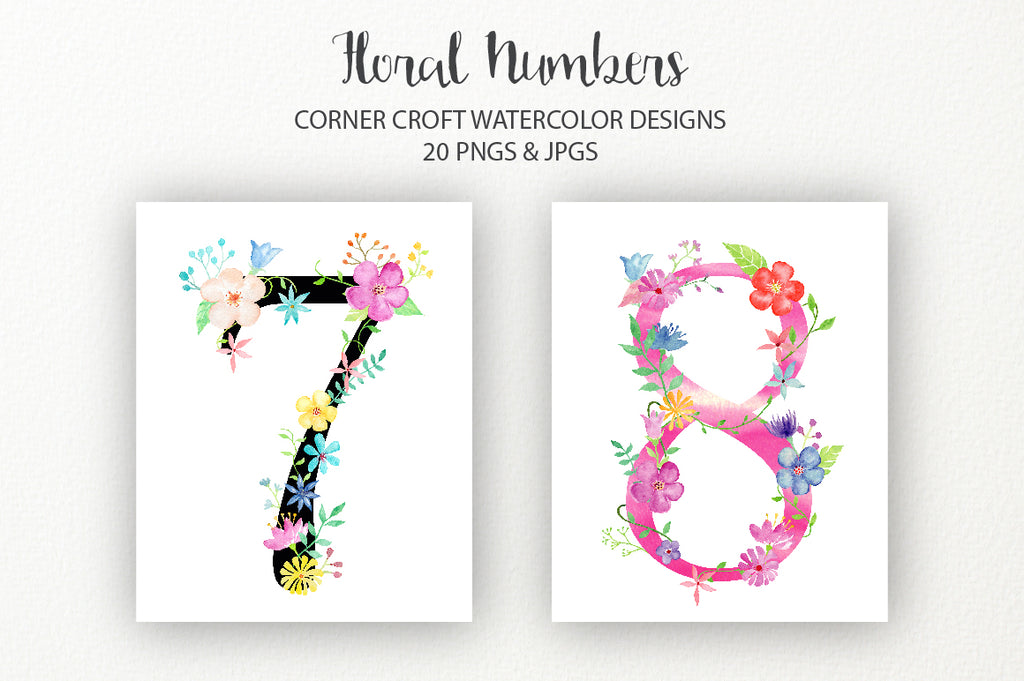 watercolor pink floral number 0, 1, 2, 3, 4, 5, 6, 7, 8, 9, pink flowers