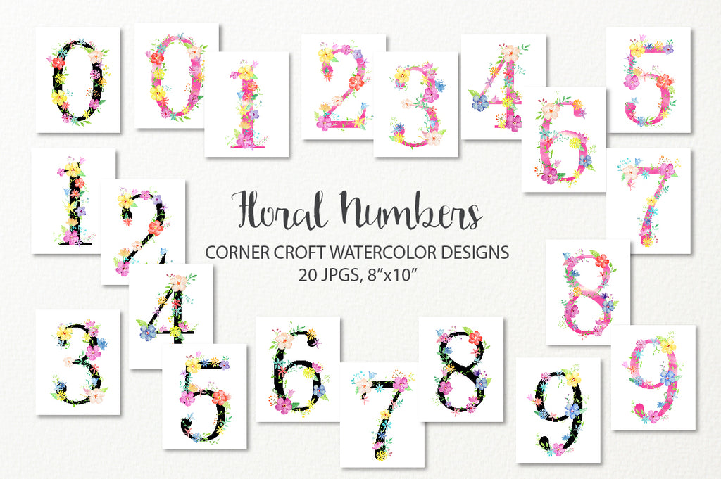 watercolor floral numbers, 0-9, instant download, corner croft artwork