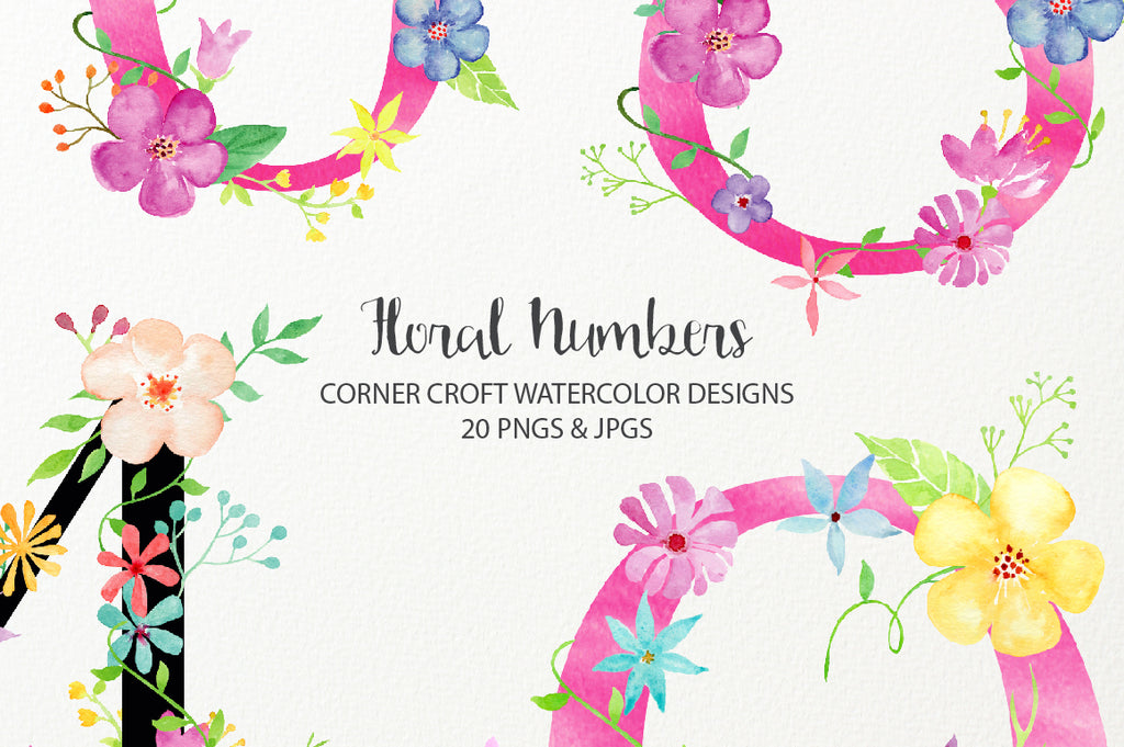 watercolor floral number, table number, instant download