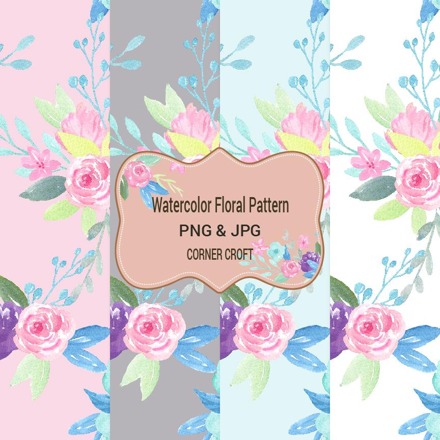 repeat pattern, Watercolor floral pattern, corner croft watercolor clipart and illustration, seamless pattern,pink, blue, purple, jpeg , png