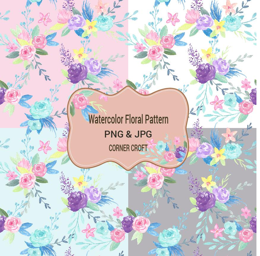 Watercolor floral pattern, corner croft watercolor clipart and illustration, seamless pattern,pink, blue, purple, jpeg , png