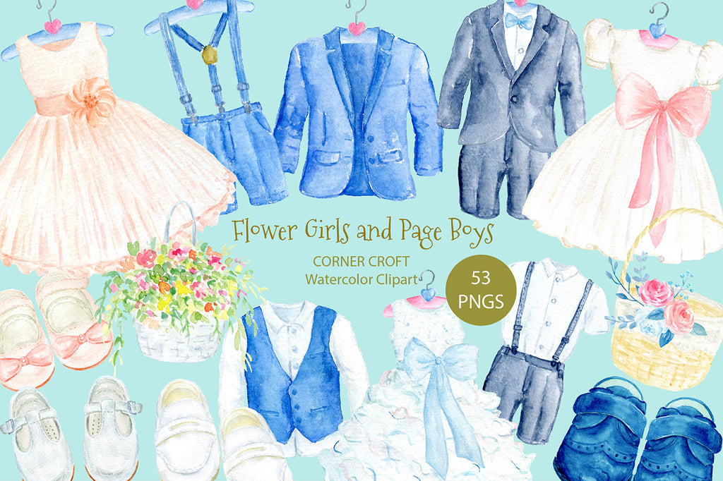 watercolor clipart children's wedding outfit, dress, suit, shoes, white wedding outfit illustration