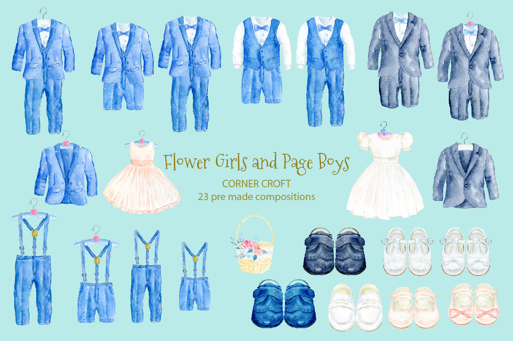 page boy suit, page boy shoes, flower girl dress, watercolor illustration instant download