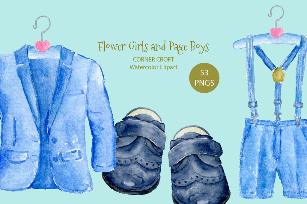 watercolor page boy outfit, children shit, white shoes, black shoes, instant download