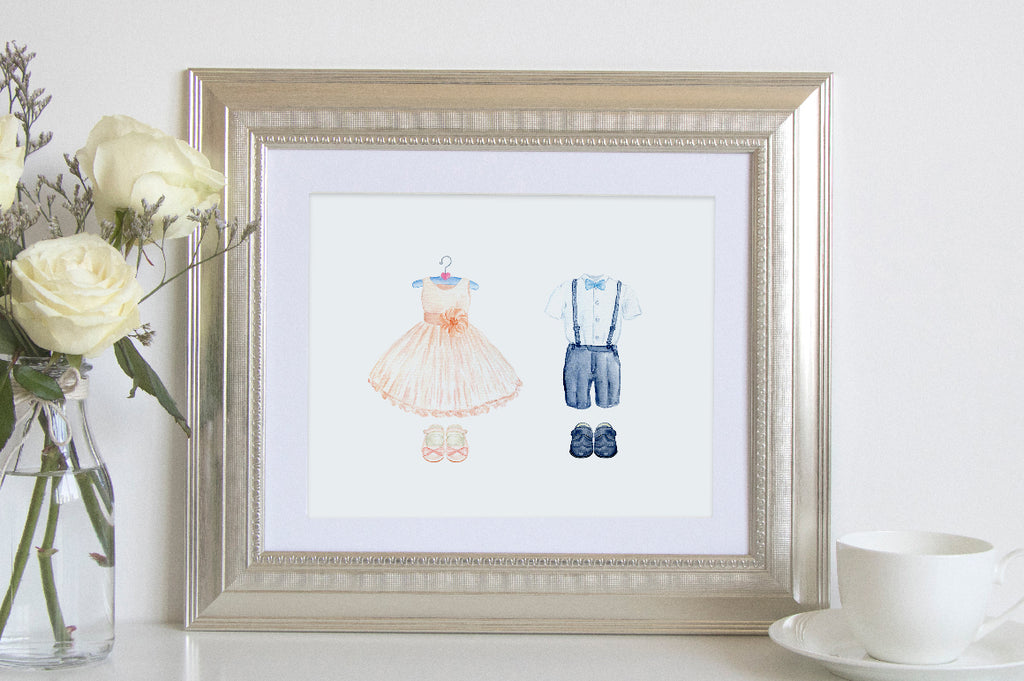 wedding print, girl dress on hanger, boy suit on hanger, instant download
