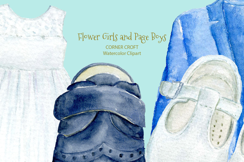 watercolor flower girl and page boy outfits, clothes on hanger, nursery print