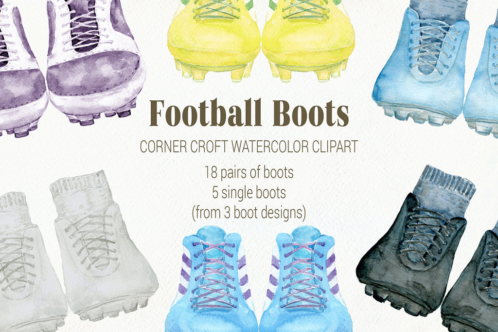 watercolor football boots illustration, soccer boots clipart, instant download