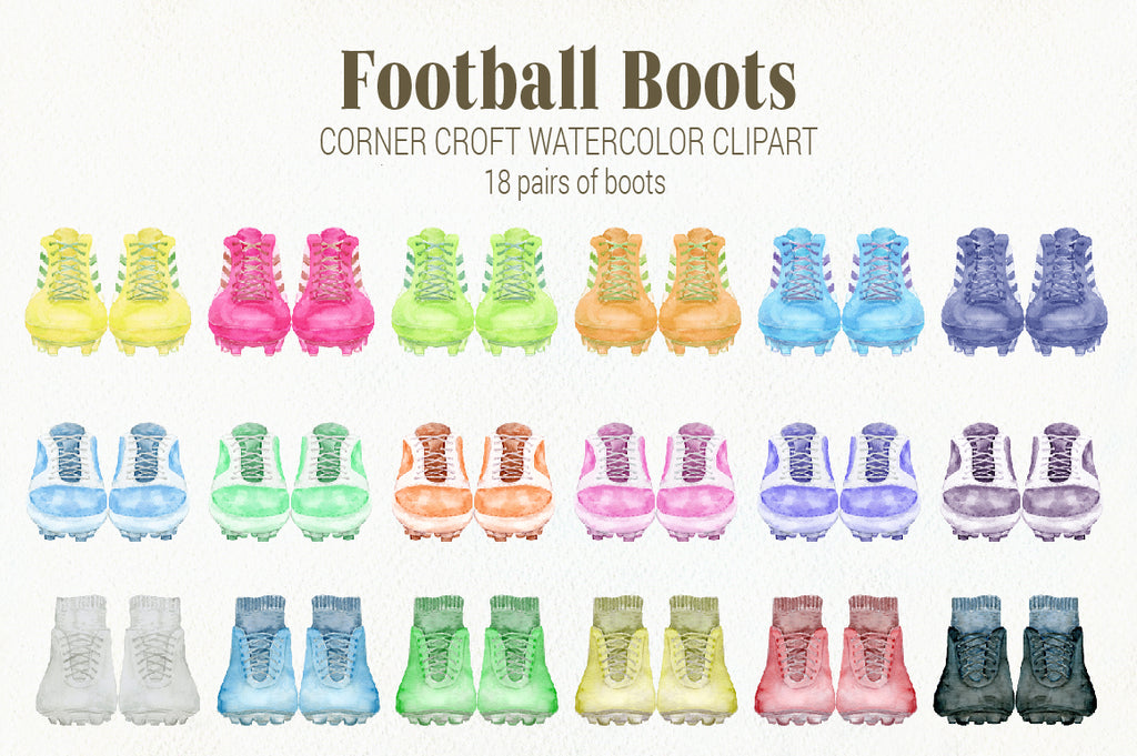 watercolor football boot clipart, soccer boots clipart, sport clipart