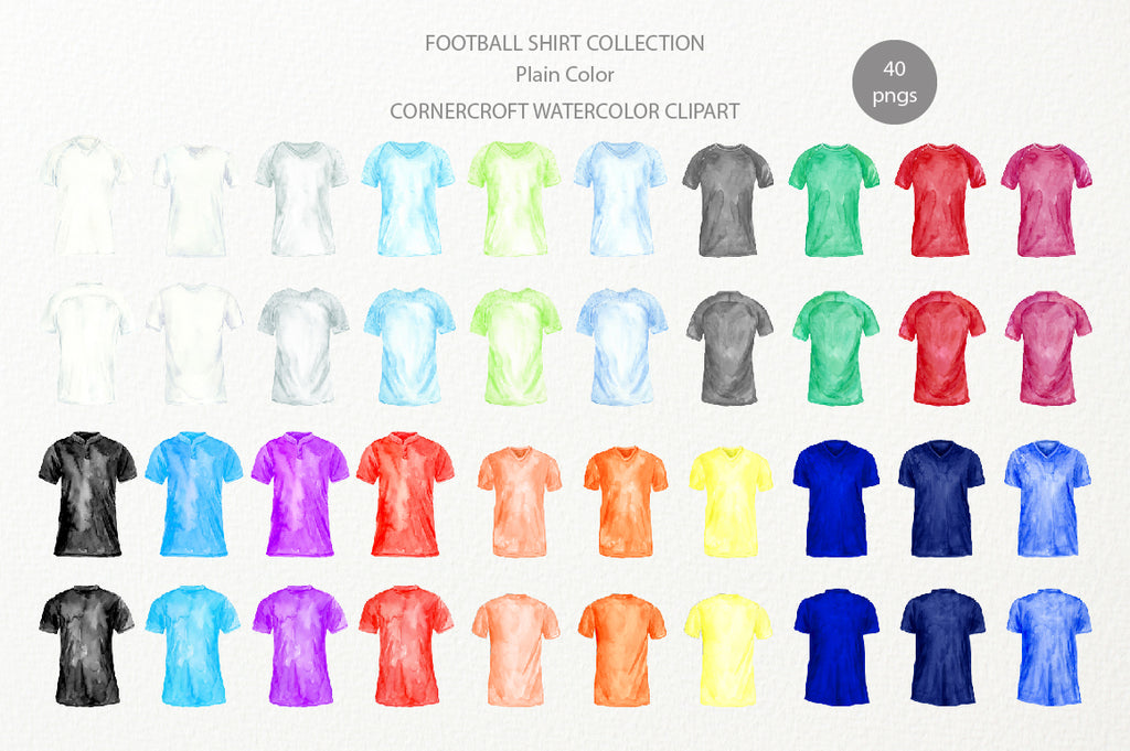 watercolor football shirt clipart, white, blue, grey, yellow, orange, red shirt illustration