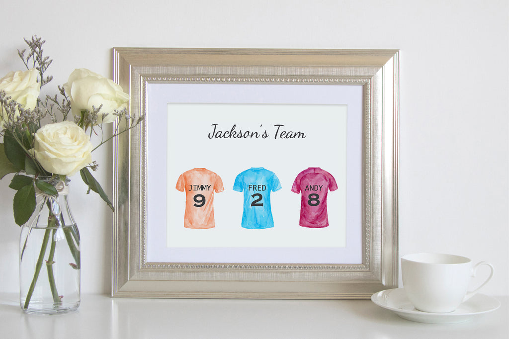 make personalised print, football shirt print, my league team