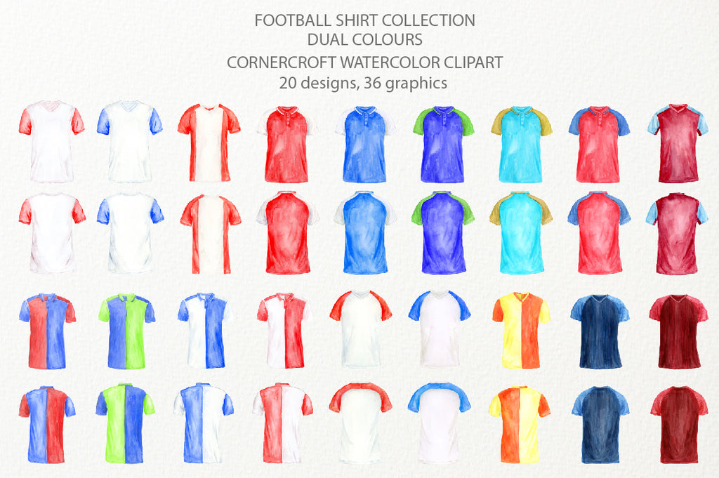 watercolor team shirt collection, football shirt, my league shirt, personalised print