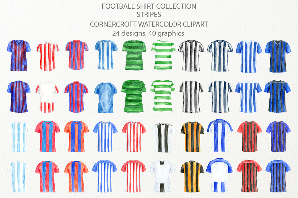 watercolor football shirts in stripes, striped football shirt, my league team, sport shirt illustration