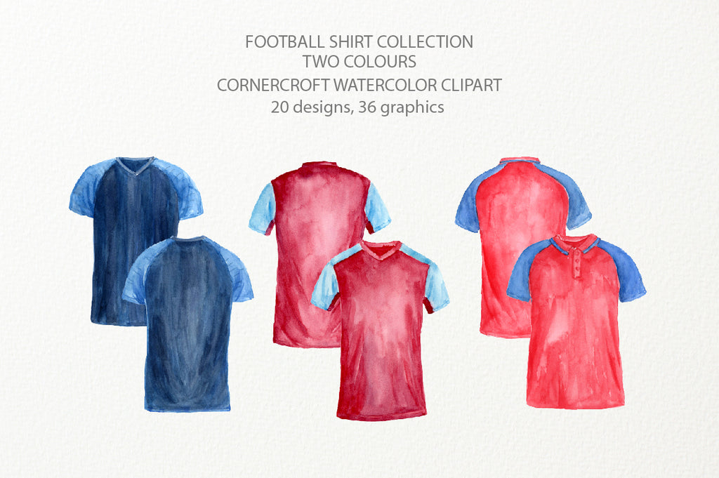 watercolor clipart of shirt, football team shirt illustration, personalised print,