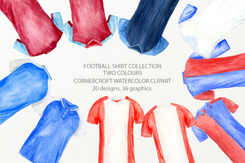 watercolor football shirts in 2 colors, football team shirts, t-shirt illustration