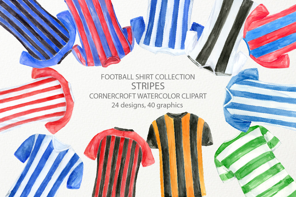watercolor clipart of  football striped shirts, sport shirt, stripes, red, blue, yellow and black stripes