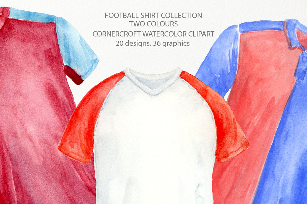 detailed watercolor illustration of football shirt, sport shirt collection, digital download