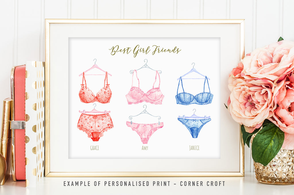 watercolor lingerie clipart for making personalised prints