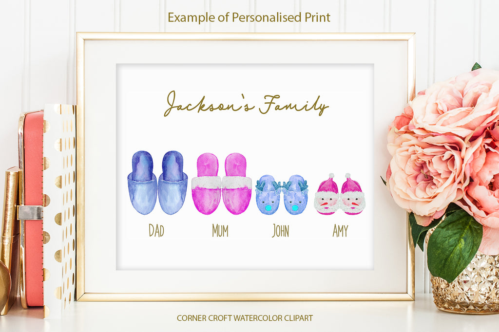watercolor christmas slippers illustration for making personalised print