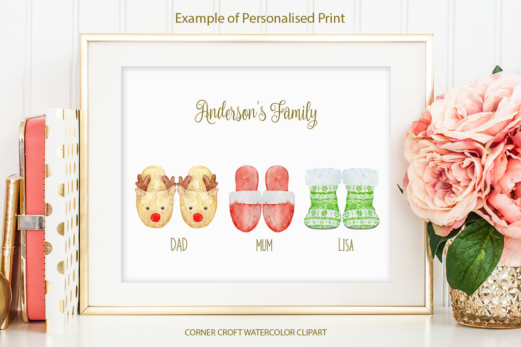 watercolor red slippers, green slippers for making personalised print