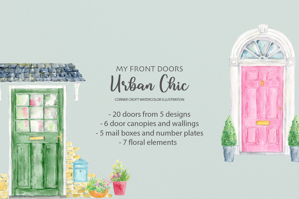 watercolor clipart front door urban chic for personalised print