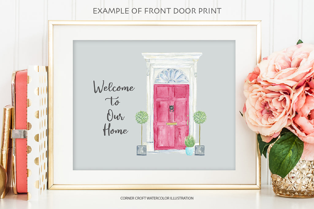 red front door print, watercolor clipart my front door urban chic for instant download