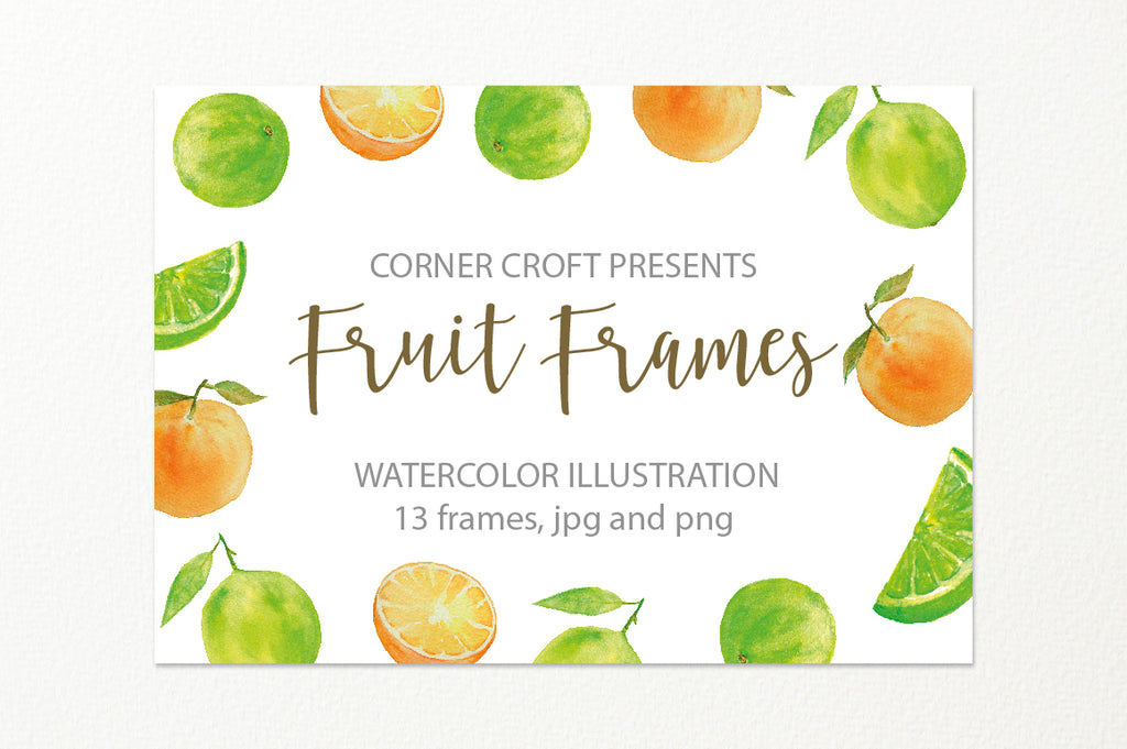 watercolor fruit frame, fruit composition, watercolor illustration, instant download