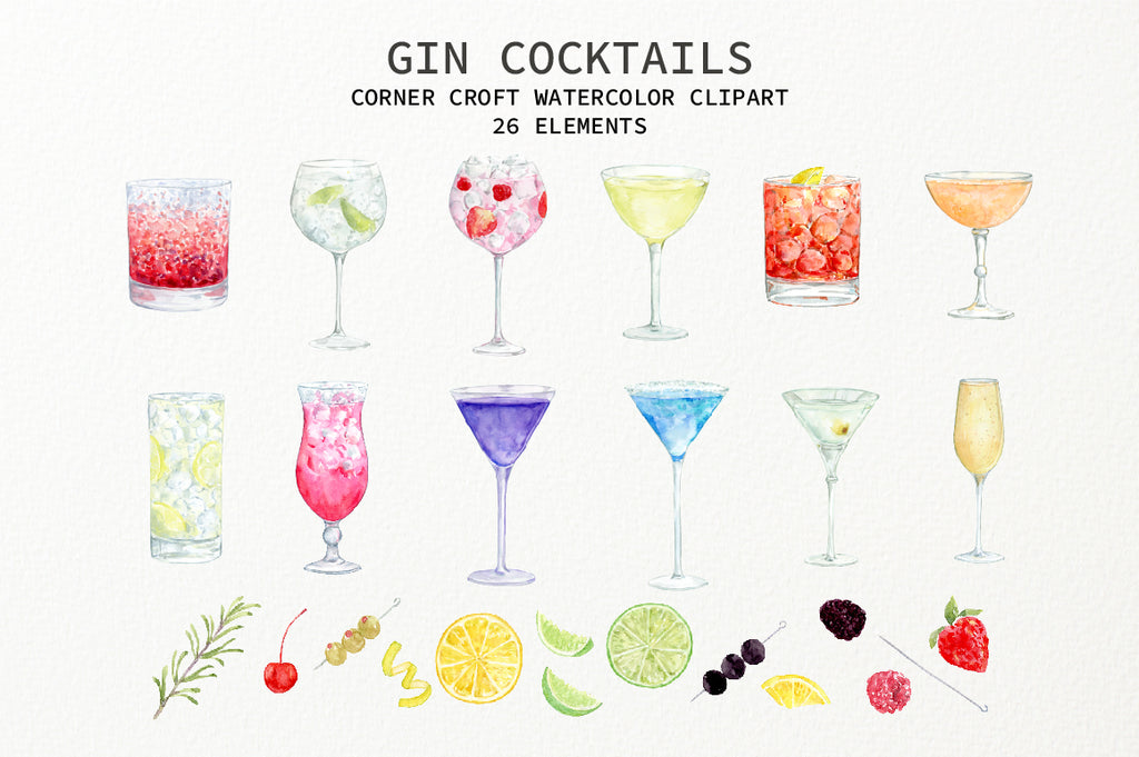 watercolor gin cocktails of Martini, Gin and Tonic, Singapore Sling, Pink Gin, Blue Gin, Tom Collins,Bramble, Negroni, Monkey Gland, Gimlet, French 75 and Aviation