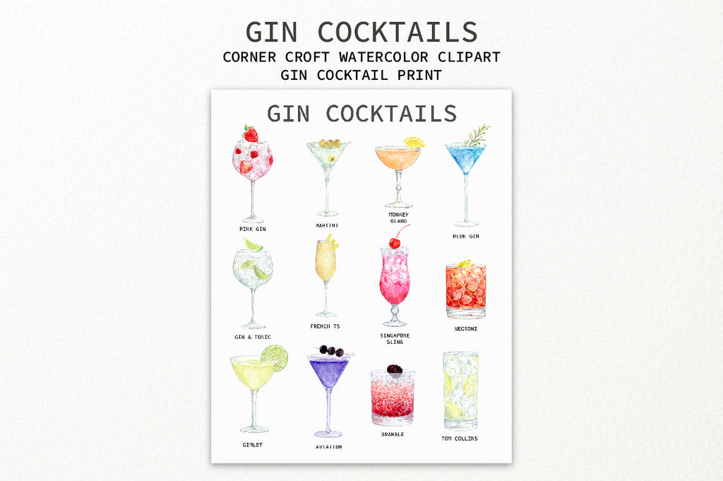 watercolor gin cocktail print, personalised print creator