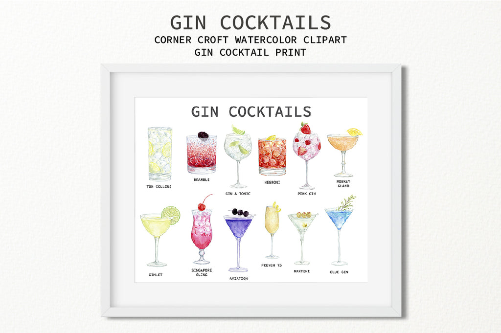 watercolor cocktail drink clipart, instant download