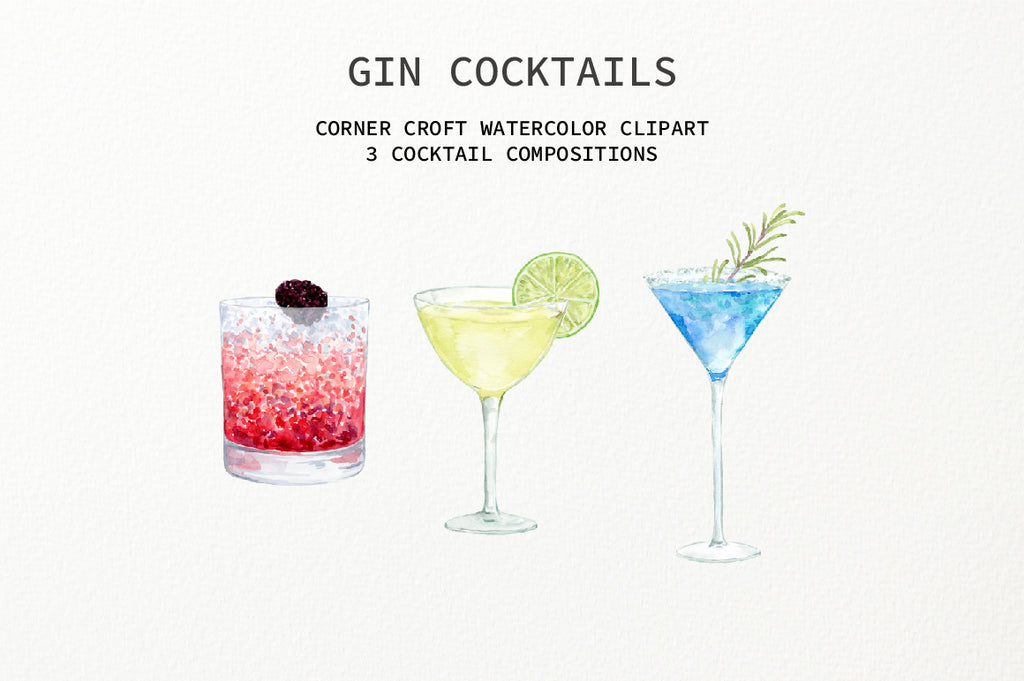 watercolor clipart of gin drink, gin cocktails illustration