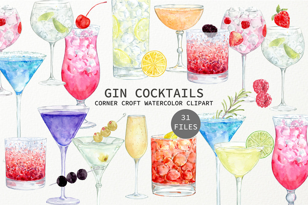 watercolor drink clipart, gin clipart, watercolor gin cocktails collection