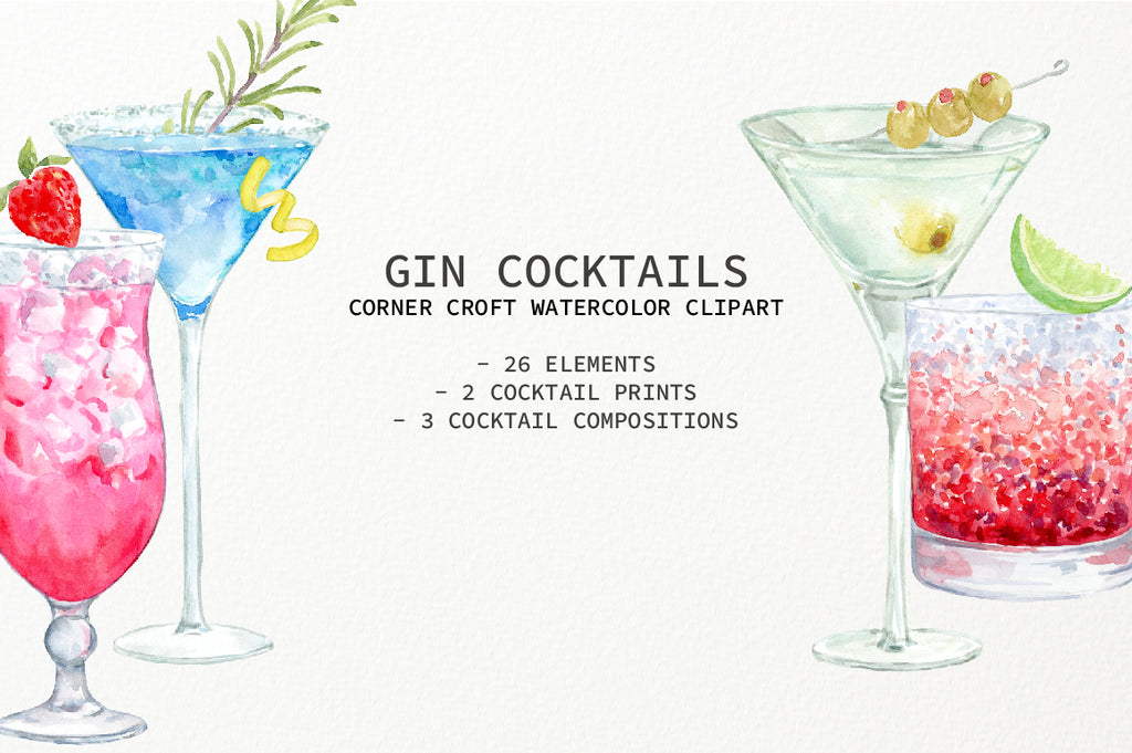 watercolor clipart of gin cocktails, perfect for making personalised prints